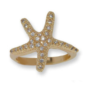 AUSTRIAN CRYSTAL STARFISH RING WHITE OR YELLOW NWT